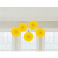 Amscan 5 Papier-Dekofächer Gelb