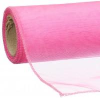 Dekoband organza neon pink 12x300cm 100% Polyamid gerollt, umgenäht