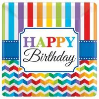 Amscan 8 Kartonteller bright Birthday