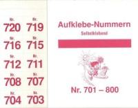 Aufklebenummern für Gabentisch 701-800