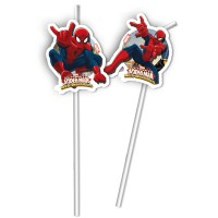 Spiderman 6 Trinkhalme Spiderman 24cm