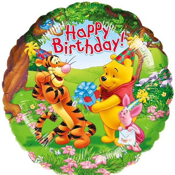 Silberfolienballon Winnie Pooh Happy Birthday