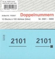 Doppelnummer blau 120x60mm 2001-3000