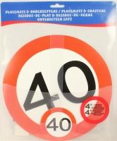 Verkehrsschild Untersetzer - Set 40 Jahre