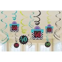 Amscan 12 Dekospiralen 40. Geburtstag