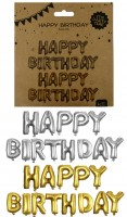 Silberballon Happy Birthday