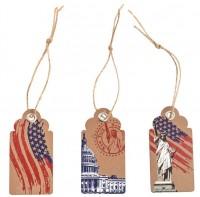 Geschenk-Etiketten USA mit Anhänger