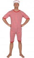 Badeanzug rot-weiss XL