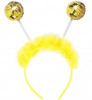 Gelber Haarreif mit goldenen Kugeln
