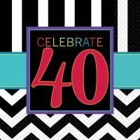 Amscan 16 Servietten 40. Geburtstag