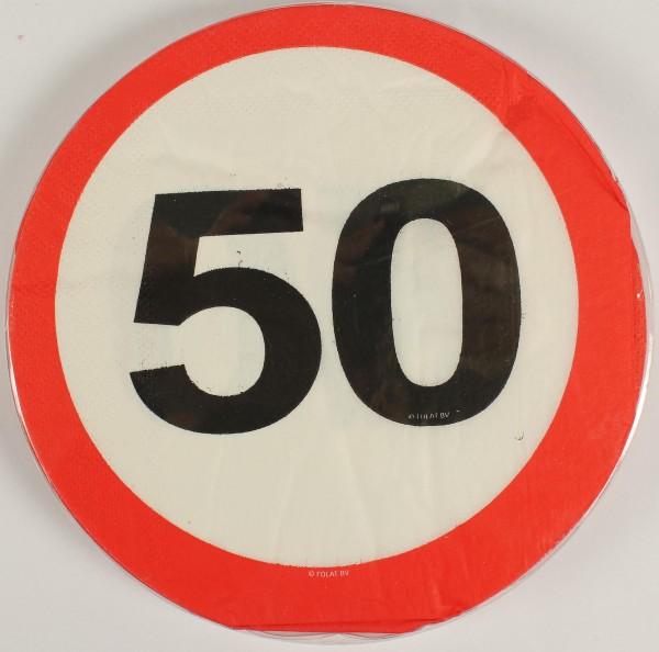 Servietten Verkehrsschild 50 Jahre