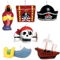 6 Mini-Figurenkerzen Piraten