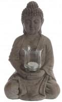 Sitzender Buddha mit Windlicht
