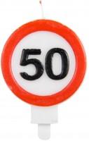 Kerze 50 Jahre Verkehrsschild