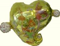 Silberfolienballon Winx Herz gelb