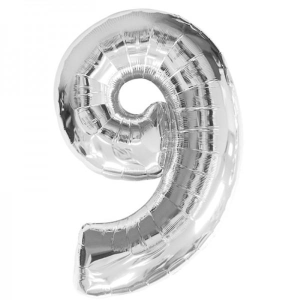 Silberfolienballon 9 silber
