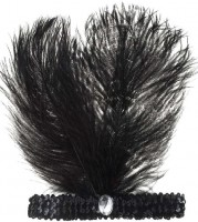 Schwarzes 20er Jahre Kopfband