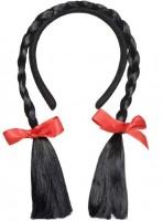 Haarreif mit schwarzen Zöpfen one Size