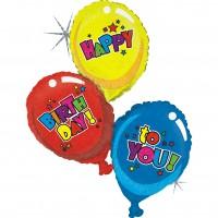 Silberfolienballon Birthday Trio