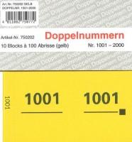 Doppelnummer gelb 120x60mm 1001-2000