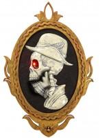 Totenkopf Gemälde 32x48cm mit roten Augen & Sound inkl. Batterien