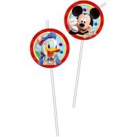 6 Trinkhalme Mickey Mouse 24cm