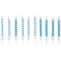 Amscan 10 Geburtstagskerzen blau 6.3cm