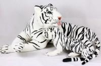 Plüsch Tiger mit Jungem 80cm weiss
