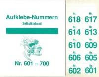 Aufklebenummern für Gabentisch 601-700
