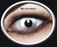 Kontaktlinse Weisser Zombie mit Korrektur