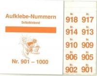 Aufklebenummern für Gabentisch 901-1000