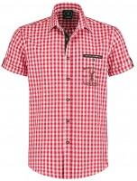 Trachtenhemd Kurzarm Weiss-Rot kariert XL
