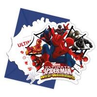 6 Einladungs-Set Spiderman
