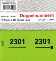 Doppelnummer grün 120x60mm 2001-3000