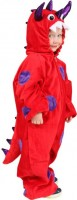 Kostüm Overall kleines Monster Grösse 116-128 rot/lila mit Kapuze