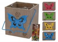 Holz-Windlicht mit Schmetterling