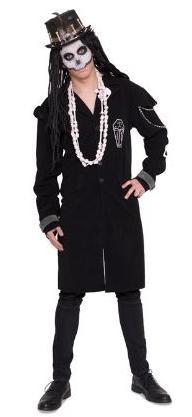Voodoo Mantel mit Sargmotiv lang, Grösse M/L 46-50