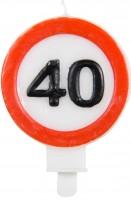 Kerze 40 Jahre Verkehrsschild