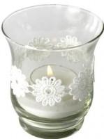 Teelichtglas mit Blumengirlande