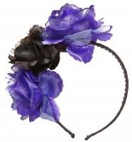 Haarreif mit schwarzen und lila Rosen