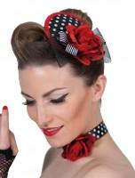 Kopfteil an Spange mit roter Rose Rockabilly