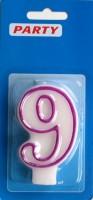 Zahlenkerzen weiss Zahl-9