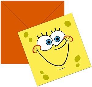 6 Sponge-Bob Einladungskarten