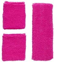 Stirnband- und Schweissbänder Set neonpink