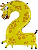 Silberfolienballon Giraffe, Zahl 2