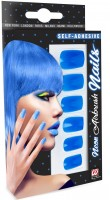 Neonblaue Fingernägel