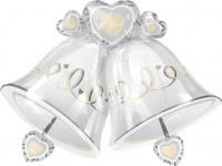 Silberfolienballon Hochzeitsglocken