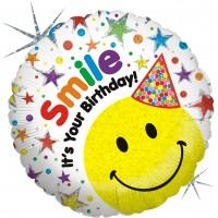 Silberfolienballon Smiley mit Geburtstagshut