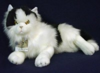 Plüsch Langhaar-Katze 38cm liegend weiss/schwarz