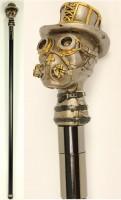Gehstock mit Steampunk Kopf